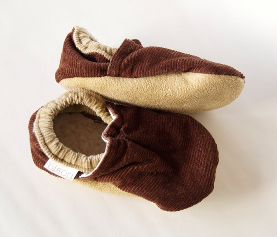Cordoury Brown Bison Booties Size 6 to 12 Months Baby Toddler Ready to Ship cloth fabric slippers moccasins