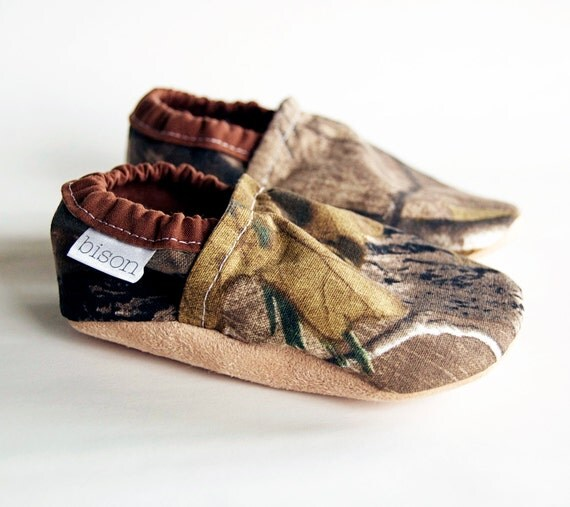 Happy Hunting Camouflage Bison Booties Size 6 to 12 Months Baby Toddler Ready to Ship Size 2-3