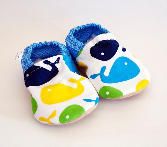Splash Bison Booties Size 6 to 12 Months Baby Soft Shoes whale Ready to Ship