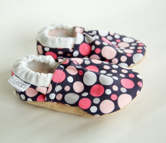 Allison Bison Booties Size 12 to 18 Months polka dot Pink Gray Toddler Slippers Ready to Ship Size 4