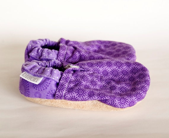 RESERVED for KTULMAN - Purple Confetti Bison Booties 0 to 6 Months newborn baby shoes slippers socks made to order