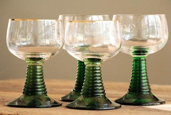 Vintage German Wine Glass Set