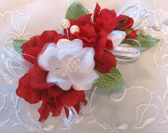 Corsage, Red and White Corsage, Rose and Azalea Corsage, Mother's Day, Prom