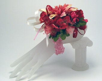 Corsage Detachable Hair Clip Pinks Maroons