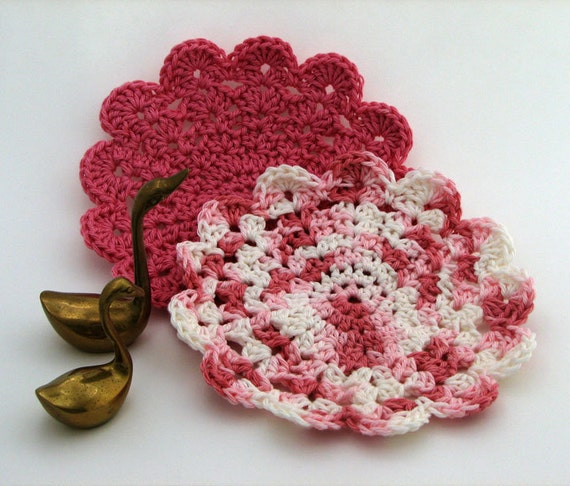 Dish cloth - Cotton - Pink and white