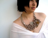OOAK Fantasy Way 3D Necklace Crocheted Special Cotton Collar NEW COLECTION