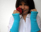 Handknitting Blue  Gloves Mitten Fingerless Gloves Arm Warmer Super Soft Acrilyc Woman Gloves NEW