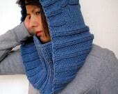 SALE Blue Jeans Hood Cowl Super Soft Mived Wool Knit Hood Cowl Woman Hood