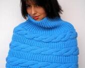 SALE Turcoise  Fashion Cape Knit Soft Capelet Woman Capelet
