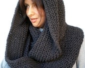Charcoal Chunky Circle Scarf Hand Knit Circle Scarf  Soft  Unisex Scarf NEW COLECTION