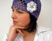Spring Flower Hat Hand Crochet Cotton Woman Hat NEW