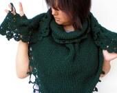 Darck Green Shawl Hand Knit Triangular Shawl Super Soft  WoolWoman Shawl NEW