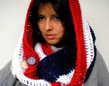 Tris Color Scarf Crocheted Super Soft l Scarf Woman Circle Scarf Butons Wood Circle Scarf