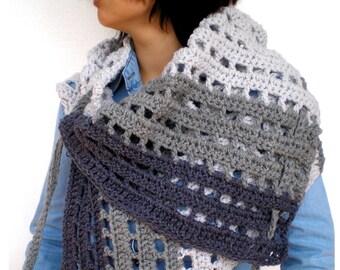 Variegated Grey Asimetric Triangle Shawl Super Soft Crocheted Big Shoulder Warp Wood butons Scarf