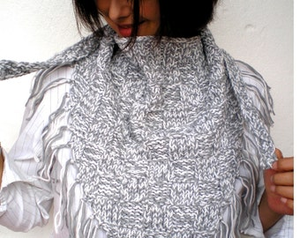 White and Grey Shawl Knit Shawl Super Soft Wool Woman Shawl