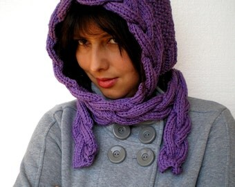 Sweet Violette Hat  Super Soft Merino Wool Hat  Hand Knit Cabled Hat Hood NEW COLECTION