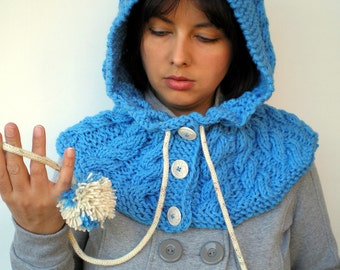 Blue Braid Hood Hat  soft Acrilyc Yarn Hooded Cowl Hand Knit Cabled Hat Hood NEW COLECTION