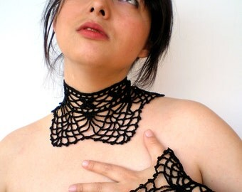 Dark Lady SetNecklace and Cuff Crocheted Special Cotton Black Collar and Cuff Bracelet NEW COLLECTION