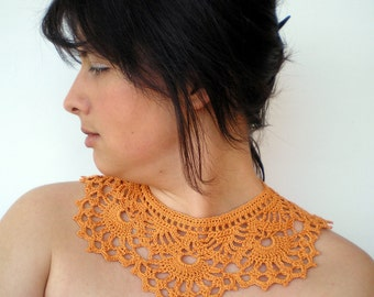 Pumpkin Orange Necklace Crocheted Cotton Collar Woman Fashion Necklace NEW COLLECTION