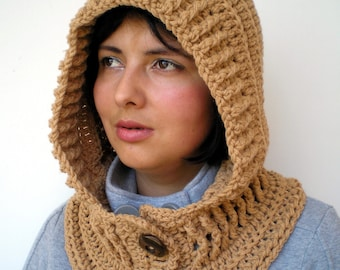 Tan Fairy Hood Cowl Super Soft Mixed Wool Crocheted Hood Cowl Woman Hood NEW COLLECTION