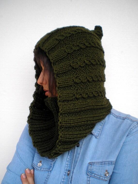 SALE Green  Hood Cowl Super Soft Mived Wool Knit Hood Cowl Woman Hood