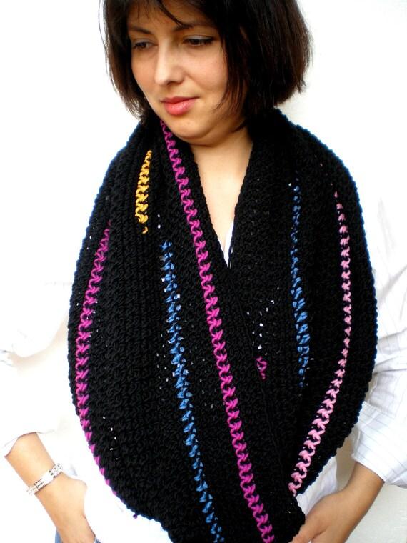 SALE Black Elegant Scarf Circle Scarf Cozy soft Merino Wool Scarf Woman Scarf