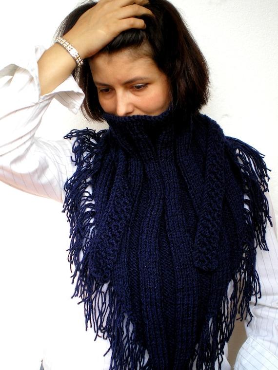 Darck Blue Shawl Knit Shawl Super Soft  Acrilyc yarn Woman Shawl