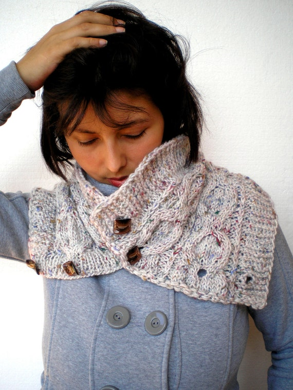Grey Knit Cowlnwck pure soft Merino Wool Circle Scarf woman Cowl