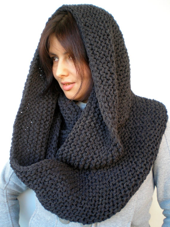 Items similar to Charcoal Chunky Circle Scarf Hand Knit Circle Scarf Soft Uni...