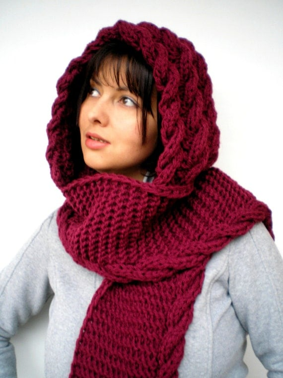 Cabled Marion Bordeaux  Hood Scarf soft mixed Wool Hooded Scarf Hand Knit Chunky Cabled Scarf Hood NEW COLECTION