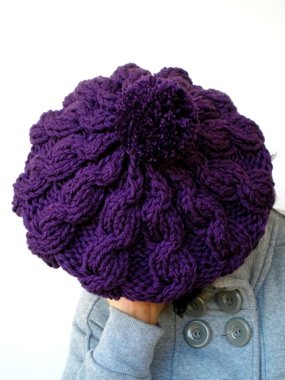 Pom-Pom  Bask Hat Super Soft Trendy Purple Hand Knit Hat  Woman Slouch Hat NEW COLLECTION