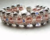 Bracelet woven swarovski crystal and pearl hugs pink silver and crystal - made to order FREE SHIPPING