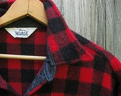 Woolrich Wool Mens Shirt Buffalo Plaid Red Black