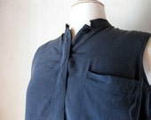 Silk Navy Blue Vintage Sleeveless Top Womens Large