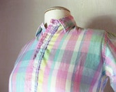 Brooks Brothers Vintage Plaid Womens Shirt Half Button Size Small