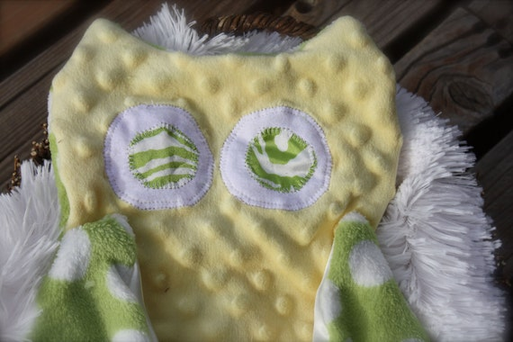 Green  & Yellow Owl tag Minky