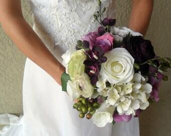 Bridal Bouquet,Wedding Flowers,Plum/Purple Floral Bouquet & Boutonniere,Bridal Flowers,Wedding Bouquet,Deep Purple Rose Bouquet, Hydrangea