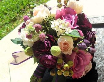 Silk Bridal Bouquet, Plum Purple/Lavender Wedding Flowers, Radiant Orchid Wedding Flowers, Wedding Accessory, Silk Wedding Flowers, Bouquet