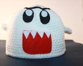 Crochet Boo Ghost Hat / Inspired by Super Mario / Boo Hat / Ghost Beanie / Handmade Crochet Hat / Sizes Newborn Baby Kids Toddler to Adult