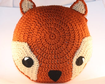 Fox Pillow / Rusty Orange Handmade Crochet Fox Pillow / Handmade Fox Cushion / Crochet Animal Pillow / Woodland Decor / Nursery Room Decor