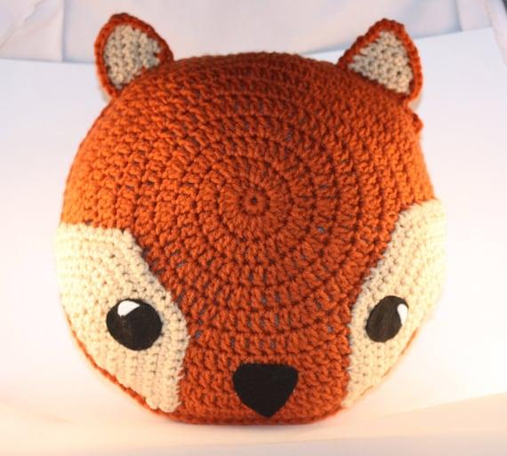 Fox Pillow / Rusty Orange Handmade Crochet Fox Pillow / Handmade Fox Cushion / Crochet Animal Pillow / Woodland Decor / Nursery Room Decor