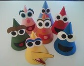 SESAME STREET Party Hats (per each) - Bert, Ernie, Rosita, Count, Telly, Elmo, Big Bird, Zoe, Oscar, Snuffy...