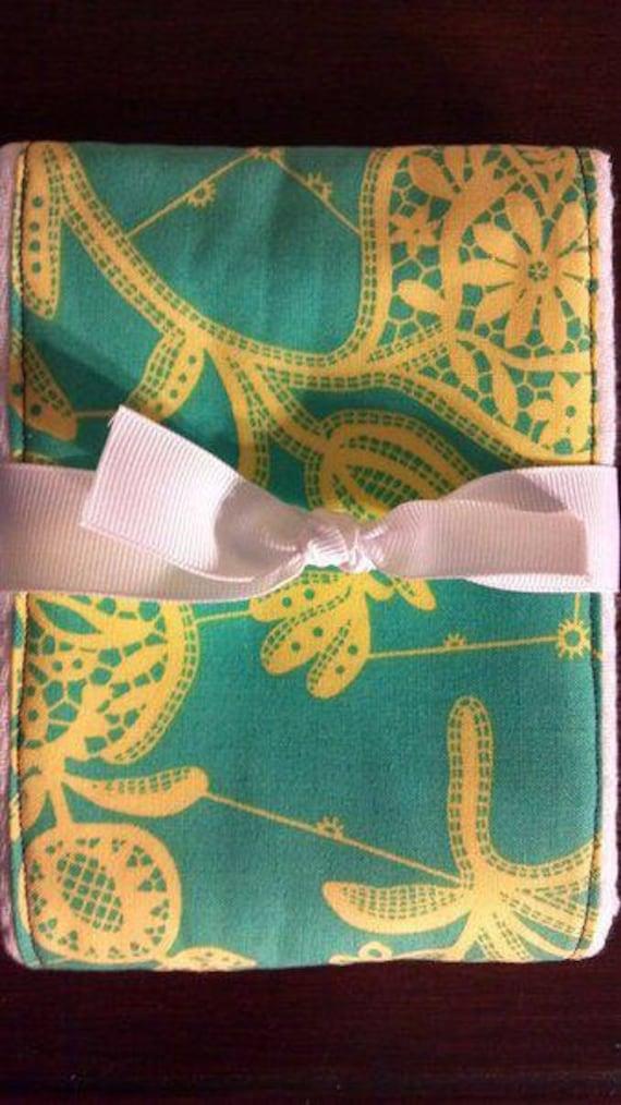 Turquoise & Yellow Baby Burp Cloth