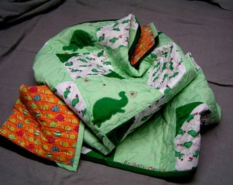 Baby Quilt with Turtles green orange and multicolors