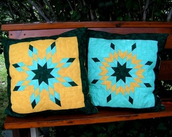 Lonestar Pillows in green and yellow
