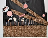 Large Size Makeup Brush Roll Holder - Leopard Print ~ High Quality Brush Organizer