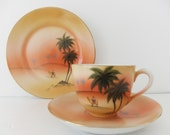Antique Noritake Desert Scene cup, saucer and plate