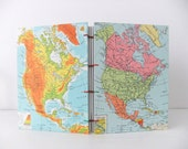 Travel journal - Handmade Journal - United States, Canada and Mexico Journal - Handmade notebook - Map Journal