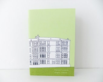 Travel Notebook - Spring  Green Notebook - Small Glasgow Handmade Journal - A6 blank notebook