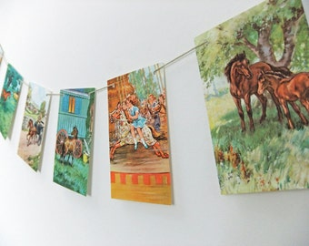 Pony Bunting,  upcycled garland, 'The Discontented Pony',  vintage Ladybird Book, playroom decor, eco-friendly garland, banner
